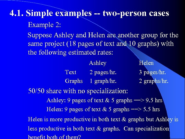 4. 1. Simple examples -- two-person cases Example 2: Suppose Ashley and Helen are