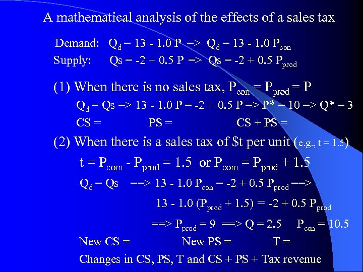 A mathematical analysis of the effects of a sales tax Demand: Qd = 13