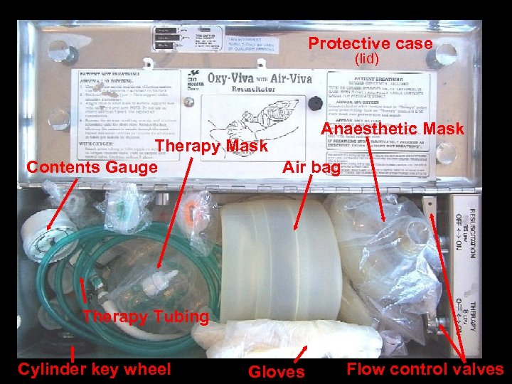Protective case (lid) Anaesthetic Mask Therapy Mask Contents Gauge Air bag Therapy Tubing Cylinder