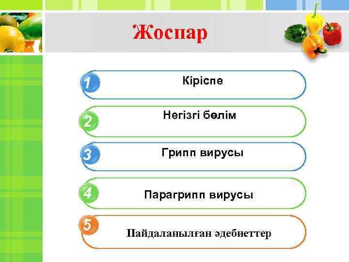 Жоспар 1 Кіріспе 2 Негізгі бөлім 3 Грипп вирусы 4 Парагрипп вирусы 5 Пайдаланылған