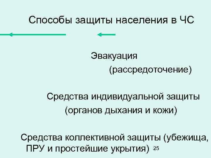 Способы защиты населения в ЧС Эвакуация (рассредоточение) Средства индивидуальной защиты (органов дыхания и кожи)