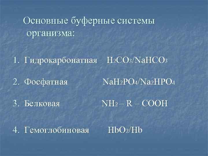 Основные буферные системы организма: 1. Гидрокарбонатная Н 2 СО 3/Nа. HCO 3 2. Фосфатная