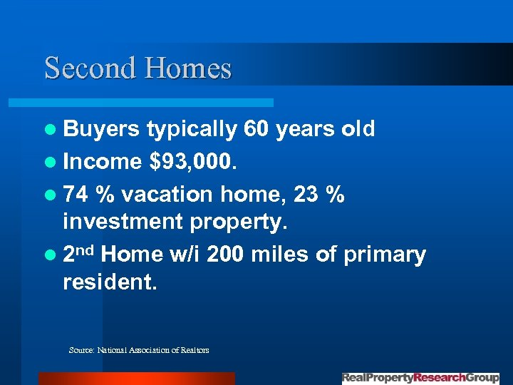 Second Homes l Buyers typically 60 years old l Income $93, 000. l 74