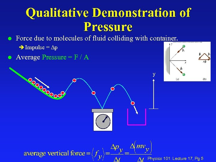 Qualitative Demonstration of Pressure l Force due to molecules of fluid colliding with container.