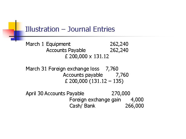 Illustration – Journal Entries March 1 Equipment 262, 240 Accounts Payable 262, 240 £