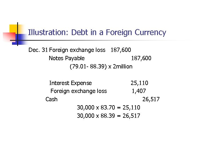 Illustration: Debt in a Foreign Currency Dec. 31 Foreign exchange loss 187, 600 Notes