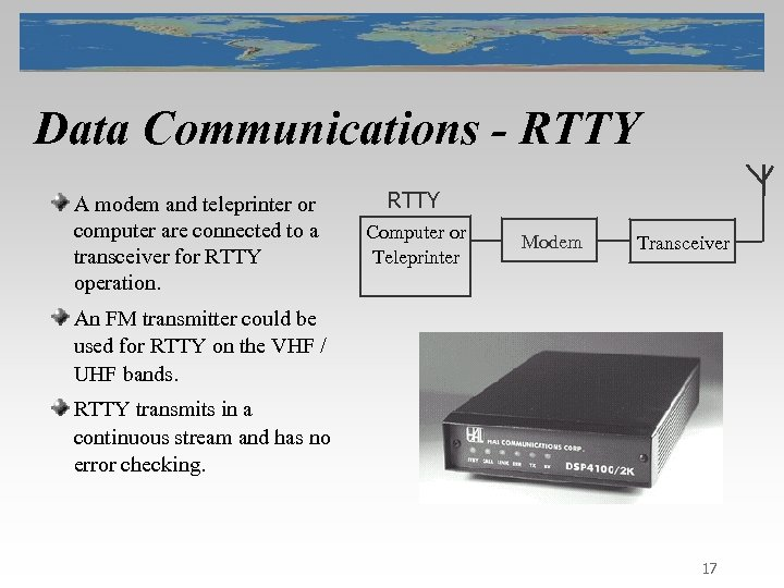 Data Communications - RTTY A modem and teleprinter or computer are connected to a
