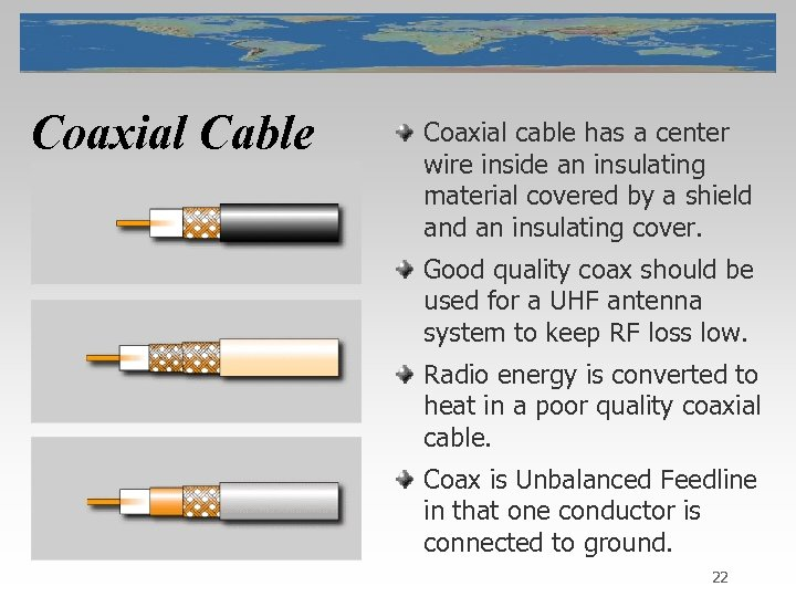 Coaxial Cable Coaxial cable has a center wire inside an insulating material covered by