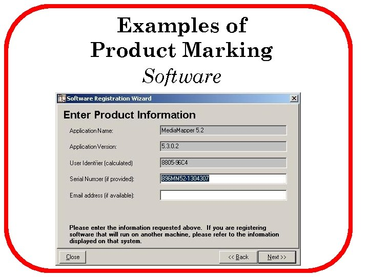 Examples of Product Marking Software