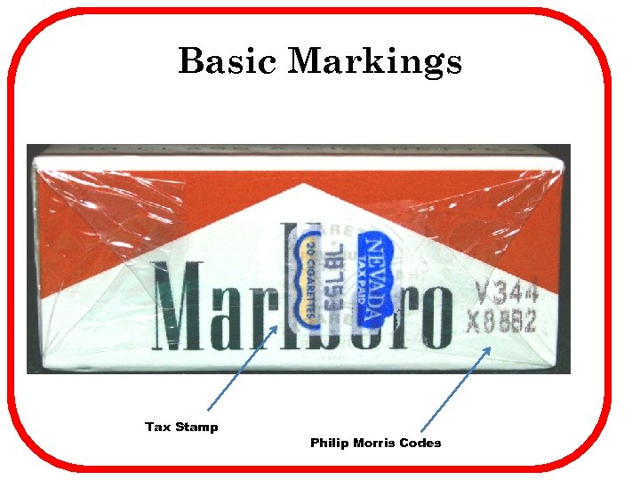 Basic Markings Tax Stamp Philip Morris Codes