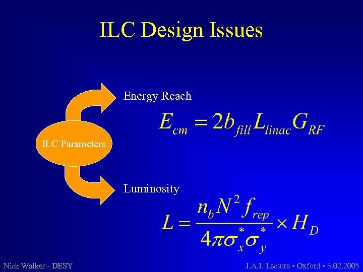 ILC Design Issues Energy Reach ILC Parameters Luminosity Nick Walker - DESY J. A.