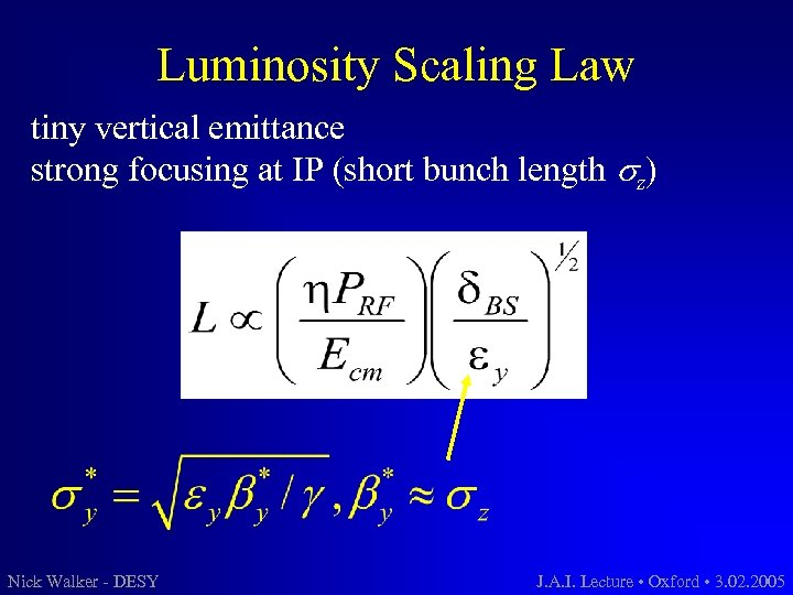 Luminosity Scaling Law tiny vertical emittance strong focusing at IP (short bunch length sz)
