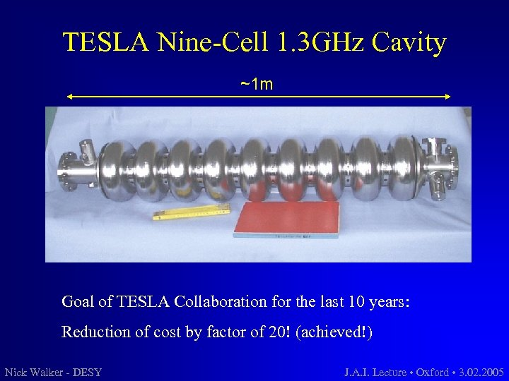 TESLA Nine-Cell 1. 3 GHz Cavity ~1 m Goal of TESLA Collaboration for the