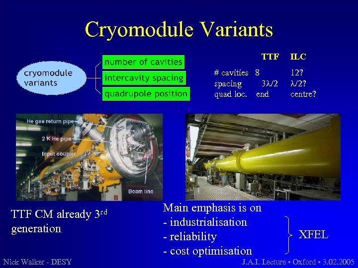 Cryomodule Variants TTF # cavities 8 spacing 3 l/2 quad loc. end TTF CM