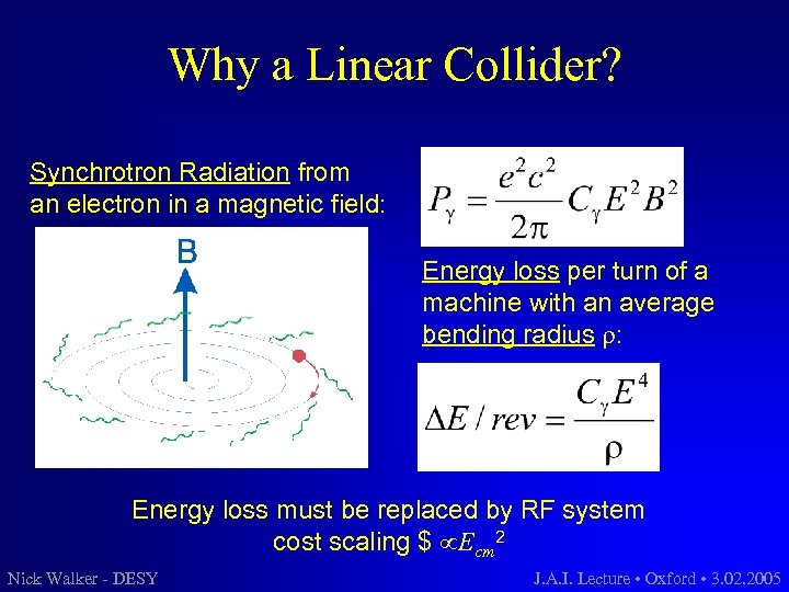 Why a Linear Collider? Synchrotron Radiation from an electron in a magnetic field: Energy