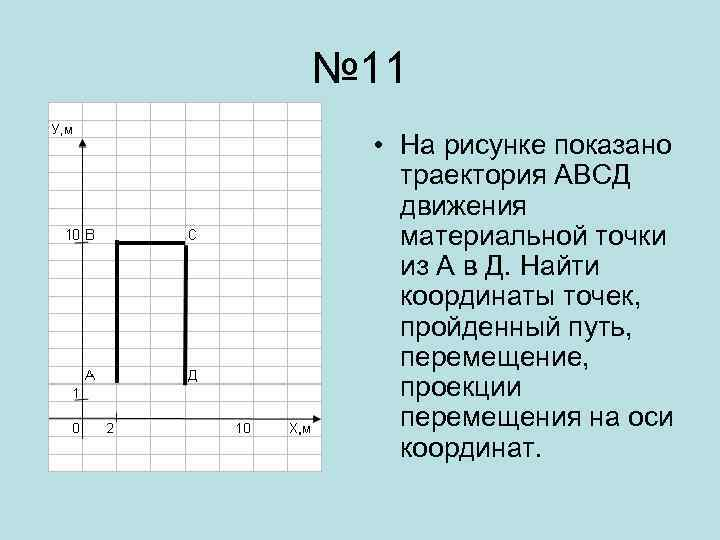 № 11 • На рисунке показано траектория АВСД движения материальной точки из А в