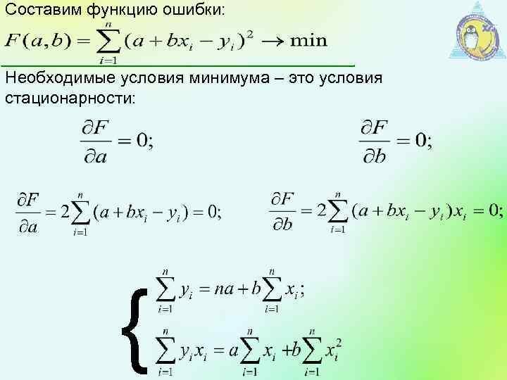 Составим функцию ошибки: Необходимые условия минимума – это условия стационарности: {
