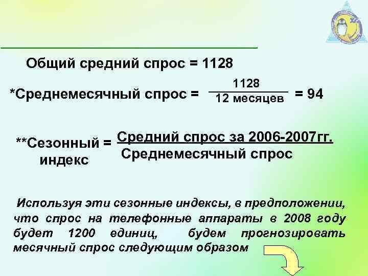 Общий средний спрос = 1128 *Среднемесячный спрос = 12 месяцев = 94 **Сезонный