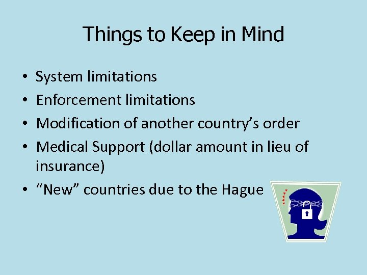 Things to Keep in Mind System limitations Enforcement limitations Modification of another country's order