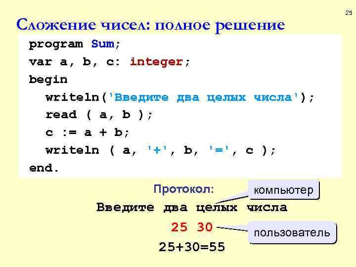 Сложение чисел: полное решение program Sum; var a, b, c: integer; begin writeln('Введите два
