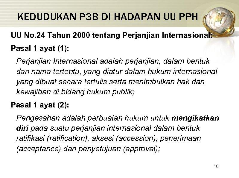 KEDUDUKAN P 3 B DI HADAPAN UU PPH UU No. 24 Tahun 2000 tentang