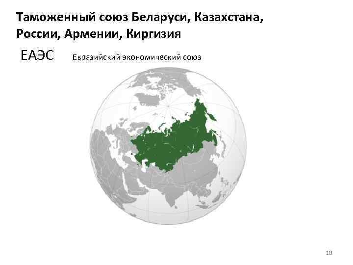 Таможенный союз Беларуси, Казахстана, России, Армении, Киргизия ЕАЭС Евразийский экономический союз 10