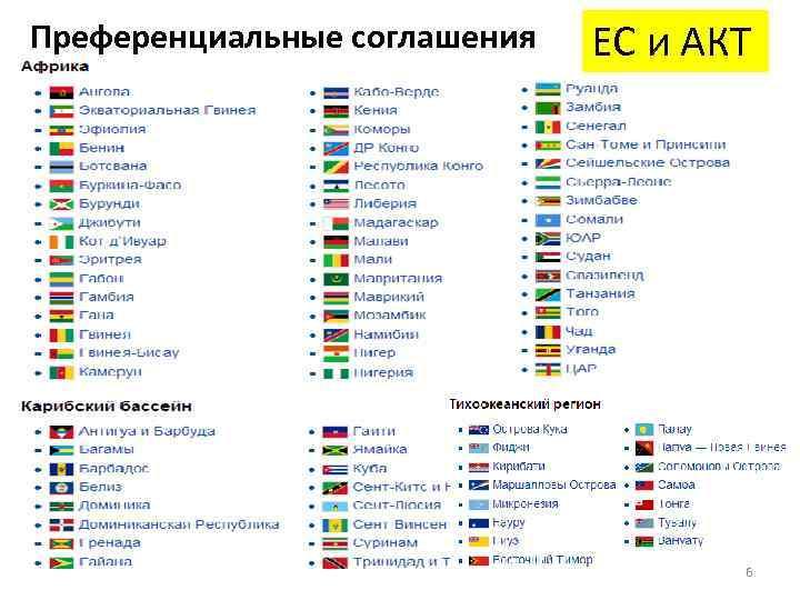Преференциальные соглашения ЕС и АКТ 6