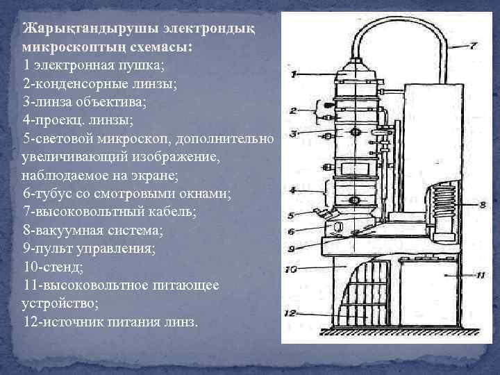 Жарықтандырушы электрондық микроскоптың схемасы: 1 электронная пушка; 2 -конденсорные линзы; 3 -линза объектива; 4