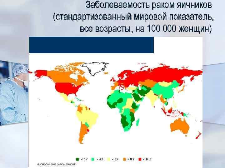 Заболеваемость раком яичников (стандартизованный мировой показатель, все возрасты, на 100 000 женщин)