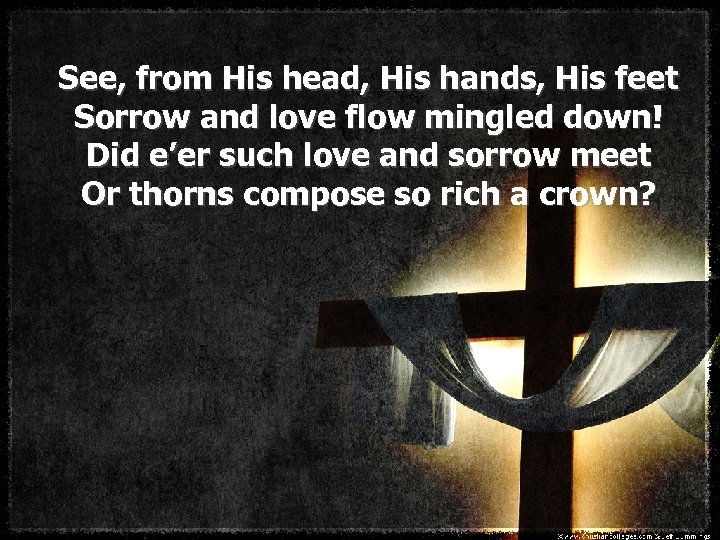 See, from His head, His hands, His feet Sorrow and love flow mingled down!