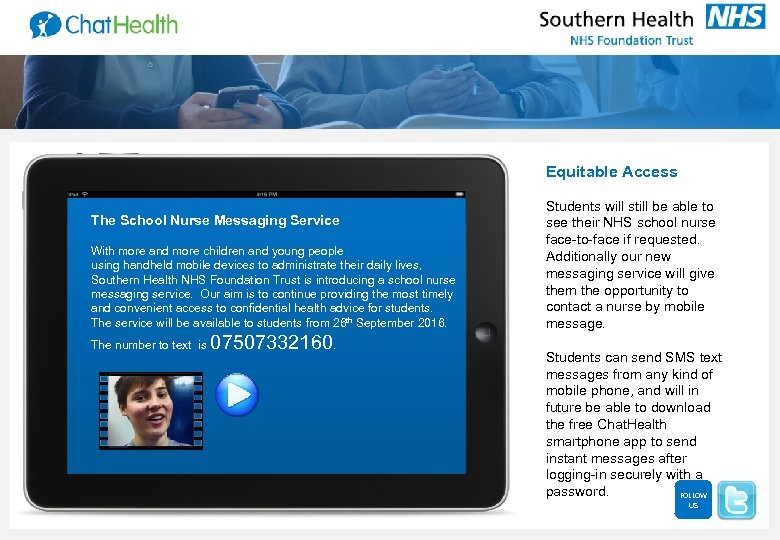 Equitable Access The School Nurse Messaging Service With more and more children and young
