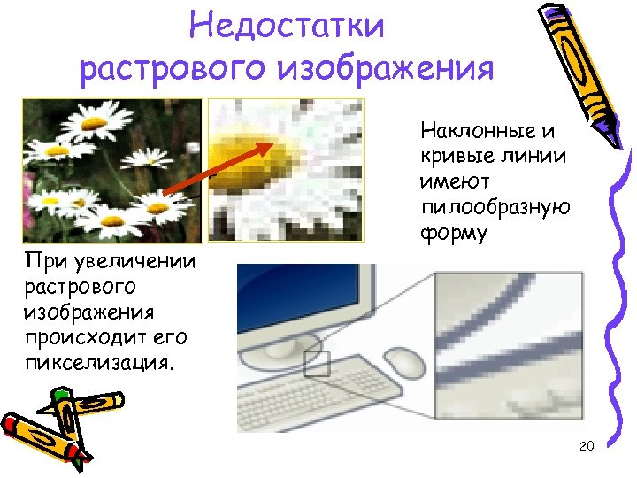 Недостатки растрового изображения При увеличении растрового изображения происходит его пикселизация. Наклонные и кривые линии
