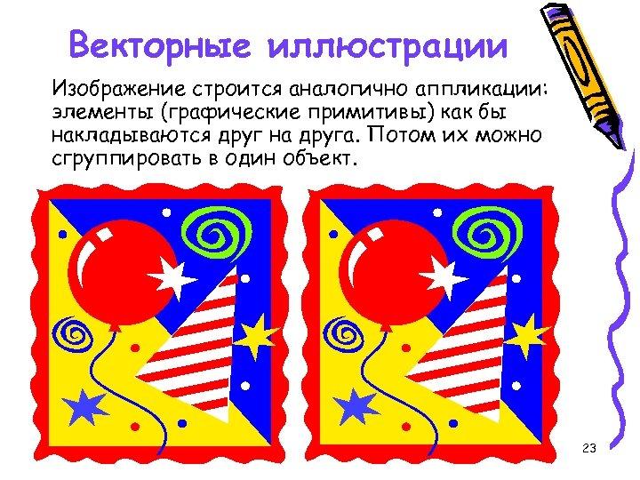 Векторные иллюстрации Изображение строится аналогично аппликации: элементы (графические примитивы) как бы накладываются друг на