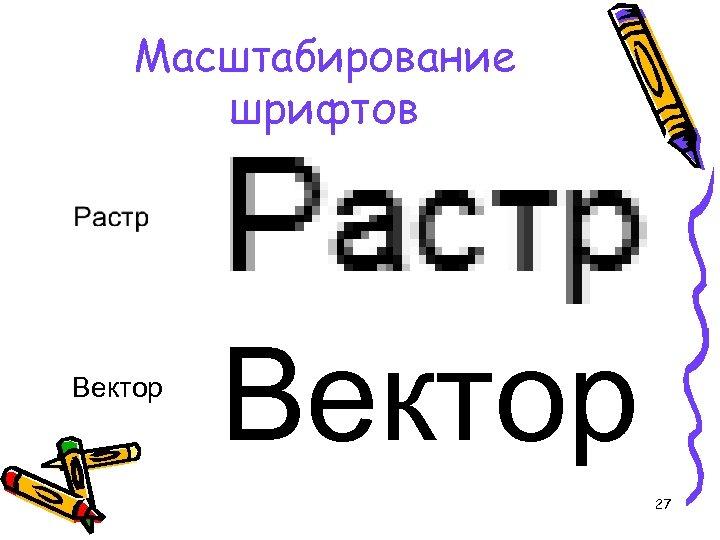 Масштабирование шрифтов Вектор 27