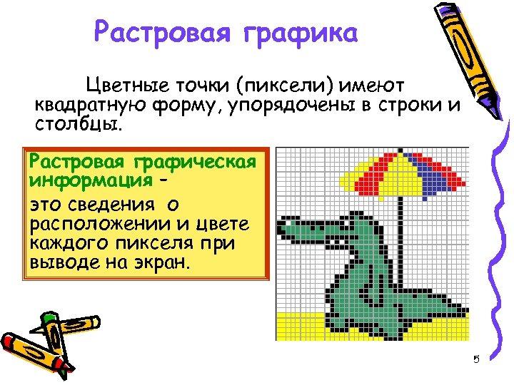 Растровая графика Цветные точки (пиксели) имеют квадратную форму, упорядочены в строки и столбцы. Растровая