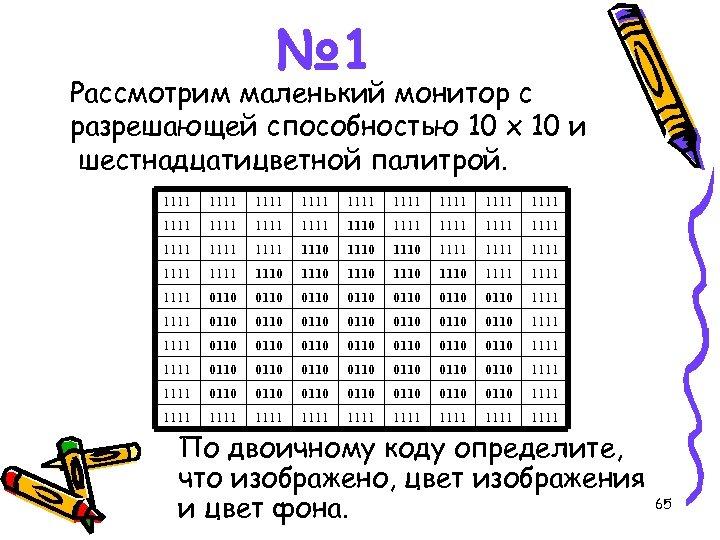 № 1 Рассмотрим маленький монитор с разрешающей способностью 10 х 10 и шестнадцатицветной палитрой.