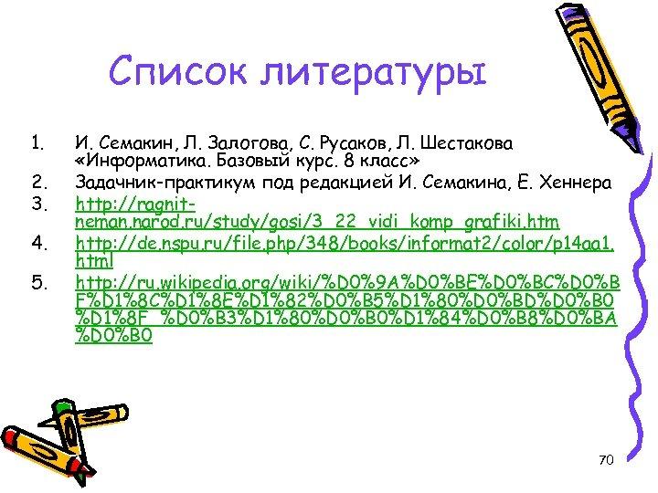 Список литературы 1. 2. 3. 4. 5. И. Семакин, Л. Залогова, С. Русаков, Л.
