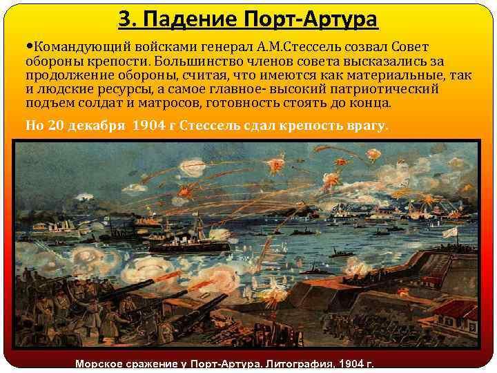 3. Падение Порт-Артура Командующий войсками генерал А. М. Стессель созвал Совет обороны крепости. Большинство