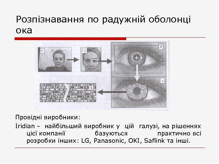 Розпізнавання по радужній оболонці ока Провідні виробники: Iridian - найбільший виробник у цій галузі,