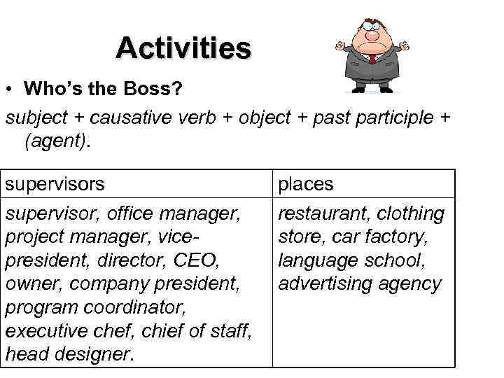 Activities • Who's the Boss? subject + causative verb + object + past
