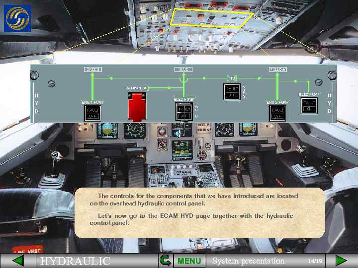 The controls for the components that we have introduced are located on the overhead