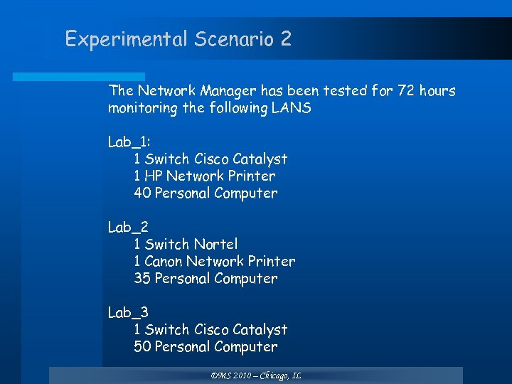 Experimental Scenario 2 The Network Manager has been tested for 72 hours monitoring the