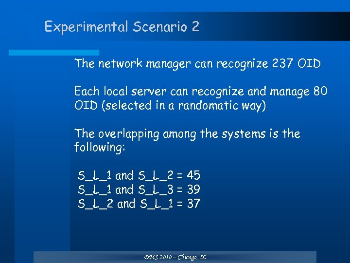 Experimental Scenario 2 The network manager can recognize 237 OID Each local server can