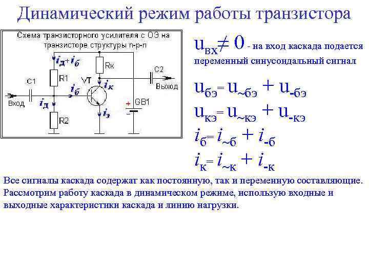 Динамический режим работы транзистора uвх≠ 0 - на вход каскада подается переменный синусоидальный сигнал