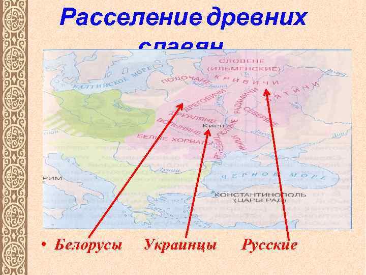 Расселение древних славян. • Белорусы Украинцы Русские