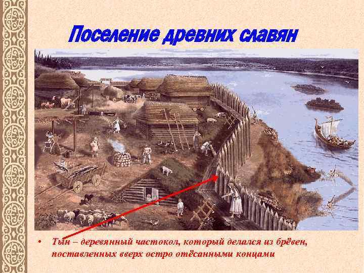 Поселение древних славян • Тын – деревянный частокол, который делался из брёвен, поставленных вверх