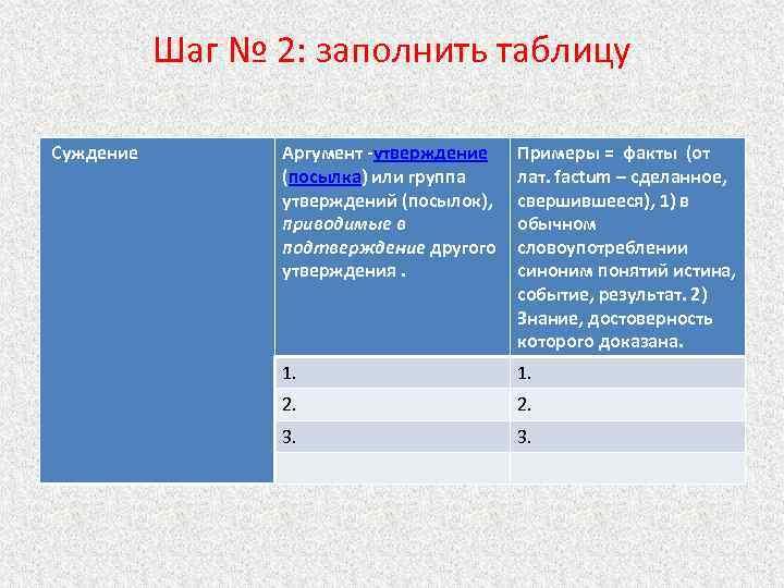 Шаг № 2: заполнить таблицу Суждение Аргумент -утверждение (посылка) или группа утверждений (посылок), приводимые