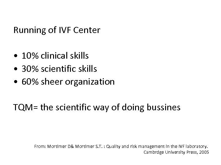 Running of IVF Center • 10% clinical skills • 30% scientific skills • 60%