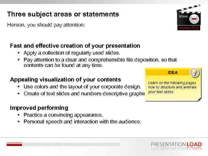 Three subject areas or statements SCENE Hereon, you should pay attention: 2 ANIMATED Fast