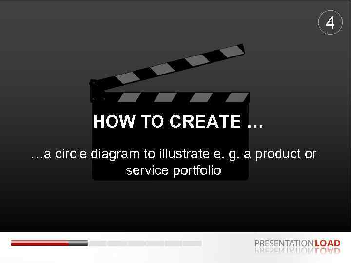 4 HOW TO CREATE … …a circle diagram to illustrate e. g. a product